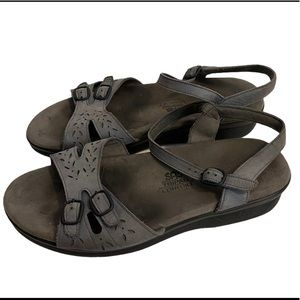 SAS Gray Leather Sandals Shoes Made In USA
